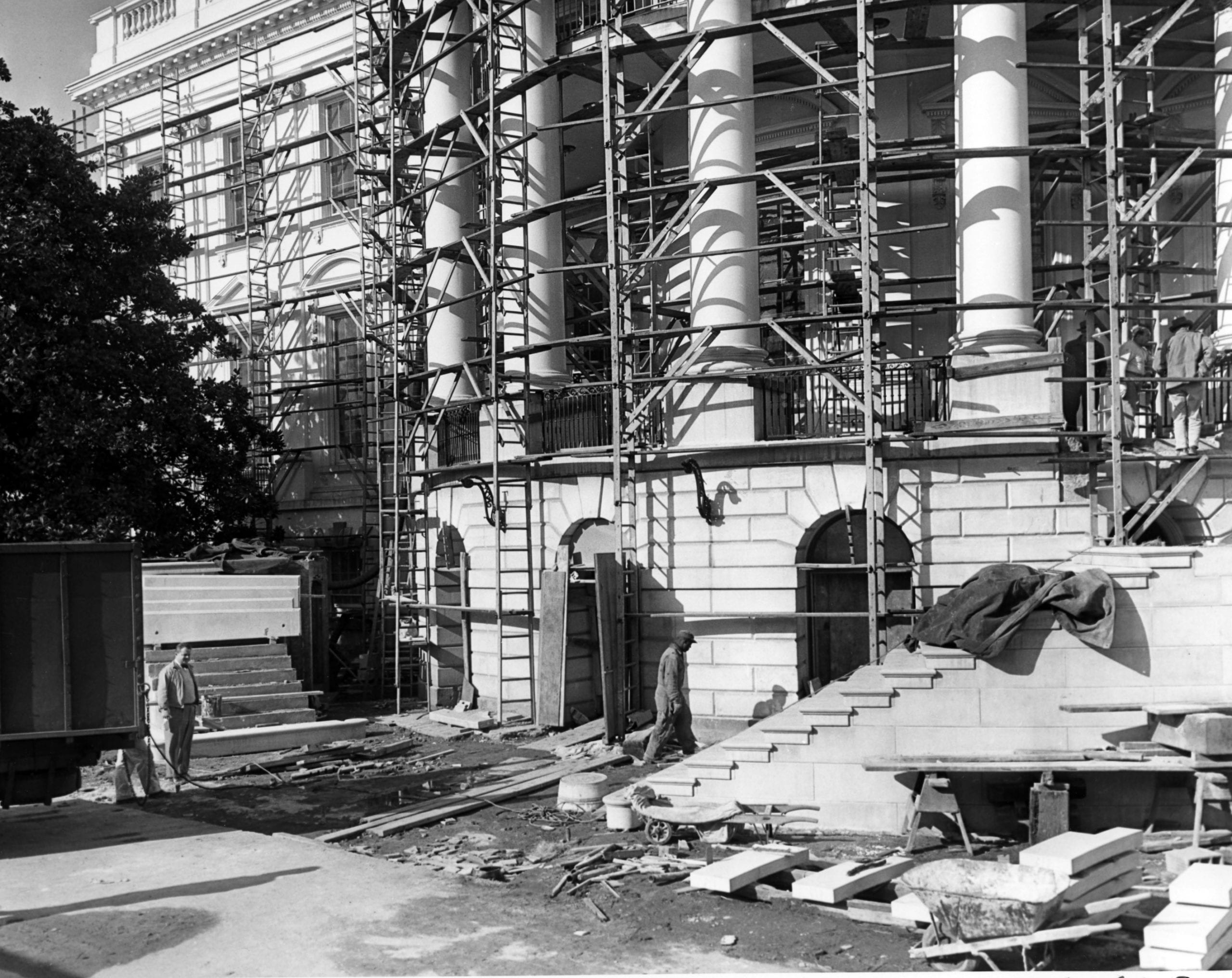 New Steps of the South Portico Being Erected during the White House Renovation - January 4th, 1942