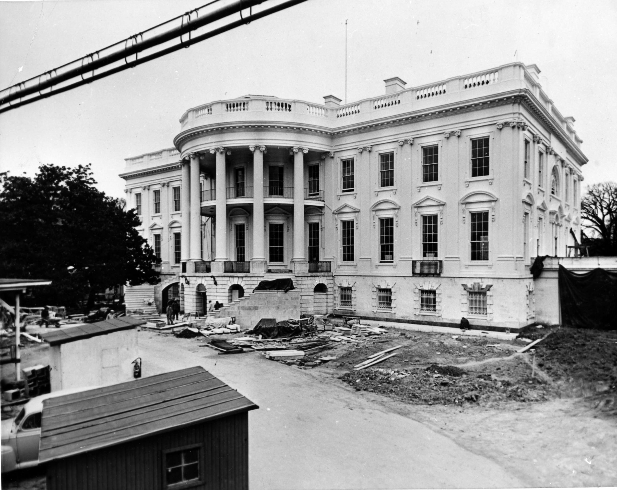 View of the South Portico of the White House - February 16th, 1952