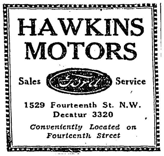 Hawkins Motors advertisement in 1931