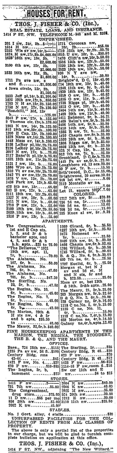 houses for rent 1907