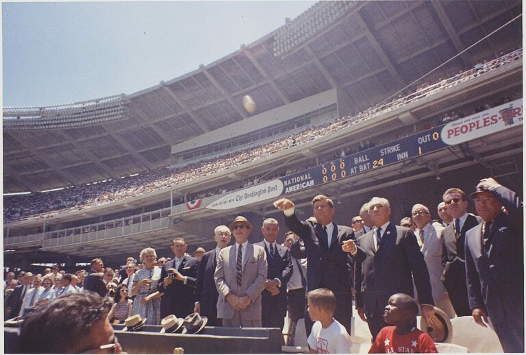 Kennedy throwing out the first pitch in 1962