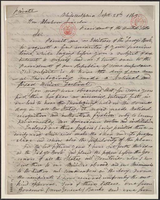 Sarah Josepha Hale's letter to Abraham Lincoln
