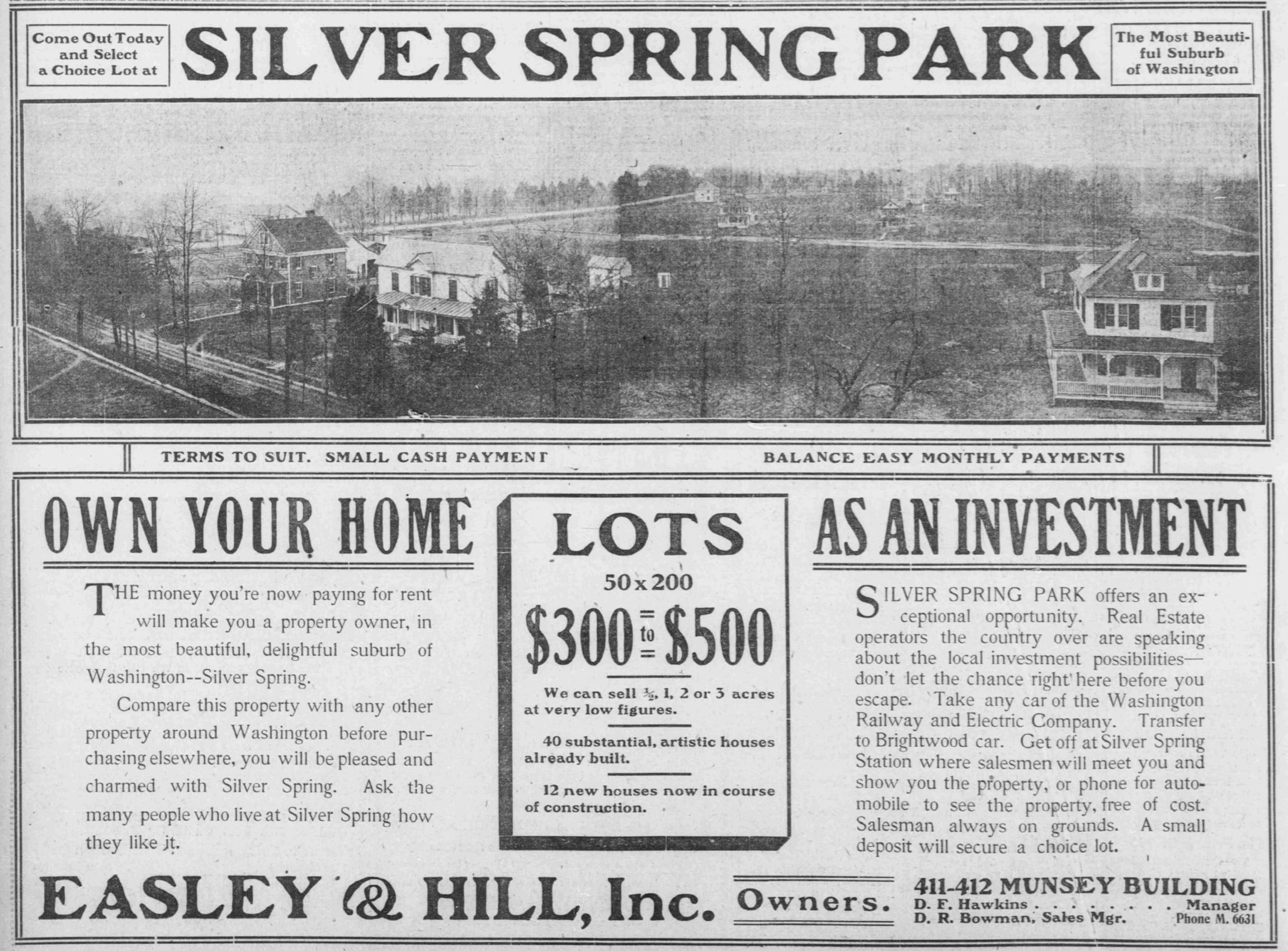 1907 advertisement for Silver Spring Park