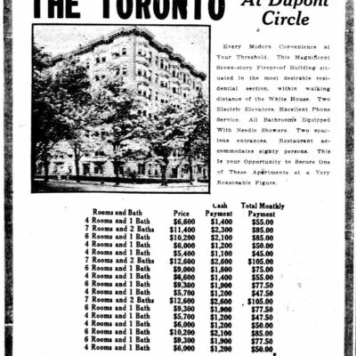 advertisement for The Toronto - 1920