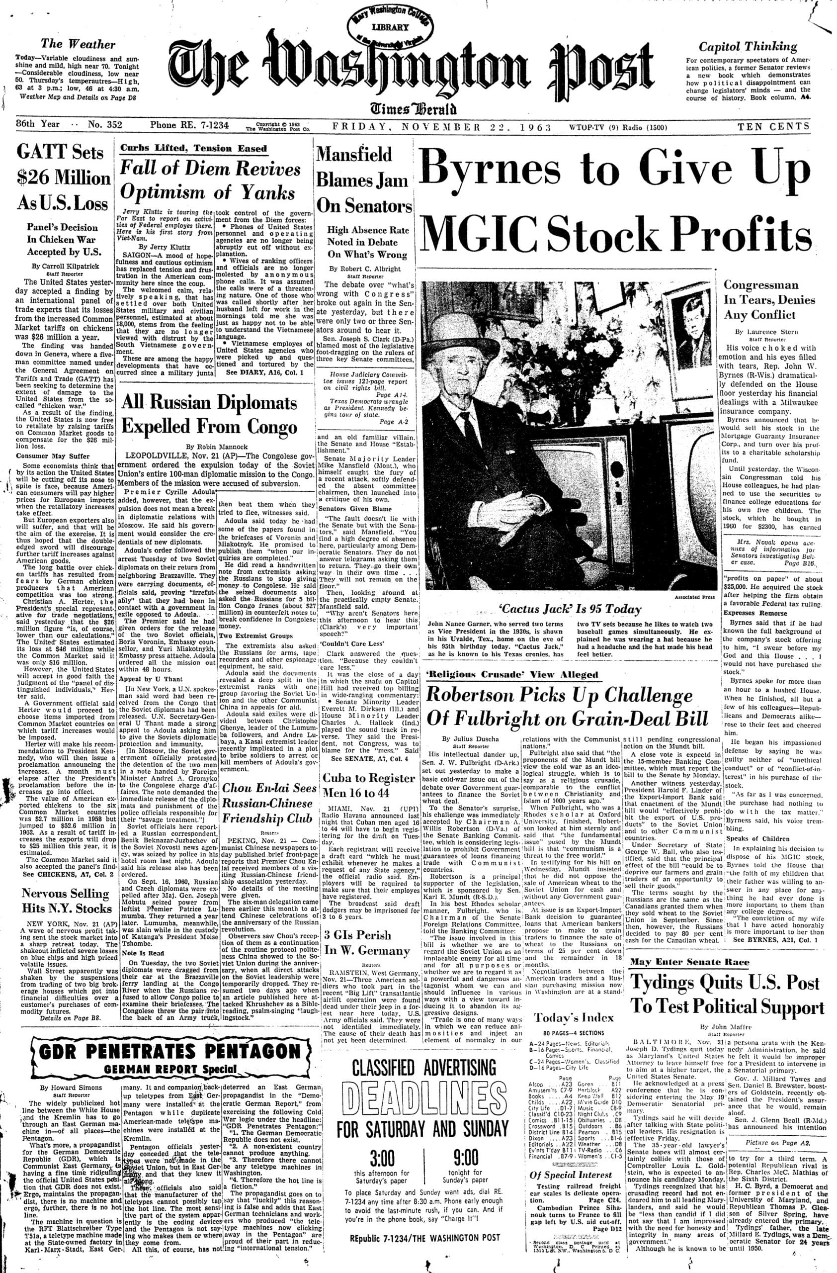 front page of the Washington Post on November 22nd, 1963