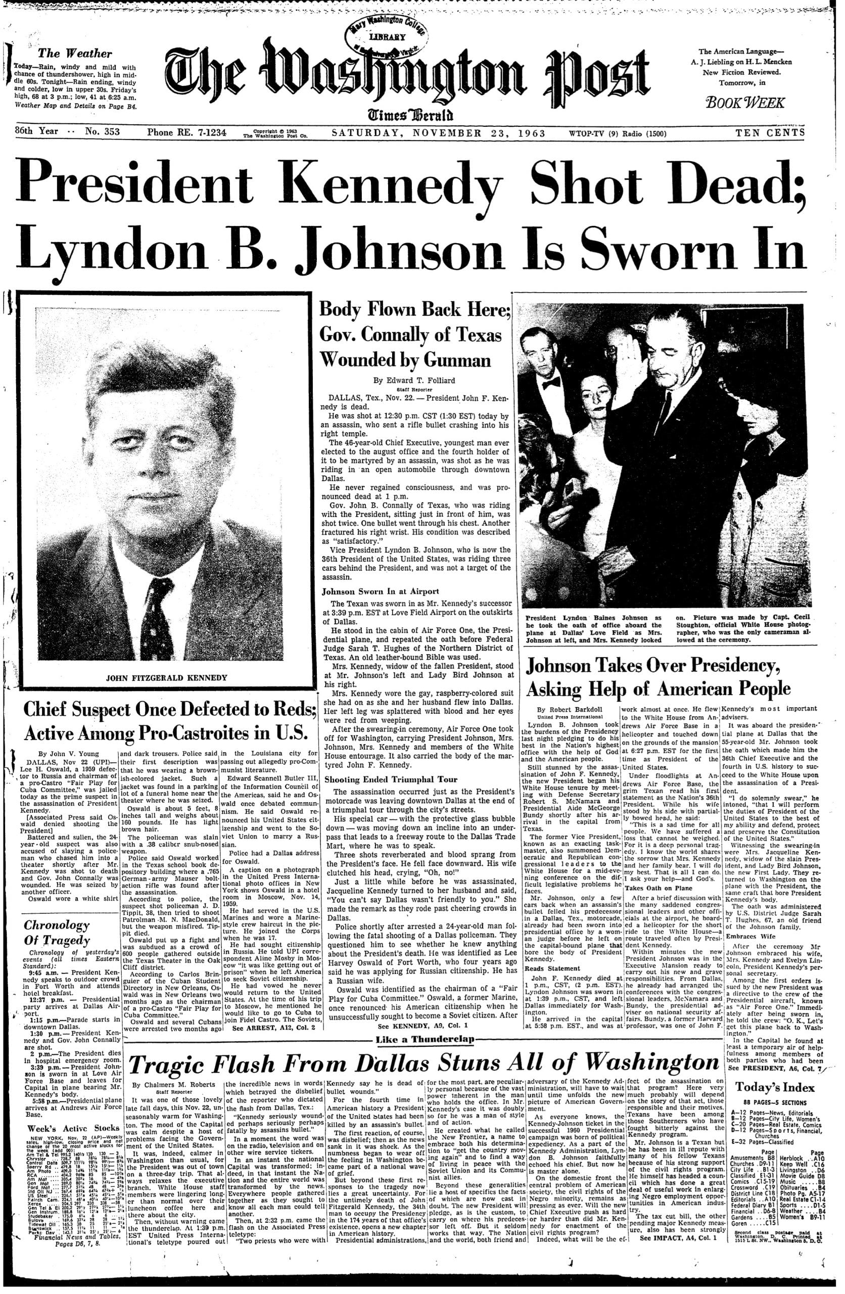 front page of the Washington Post - November 23rd, 1963