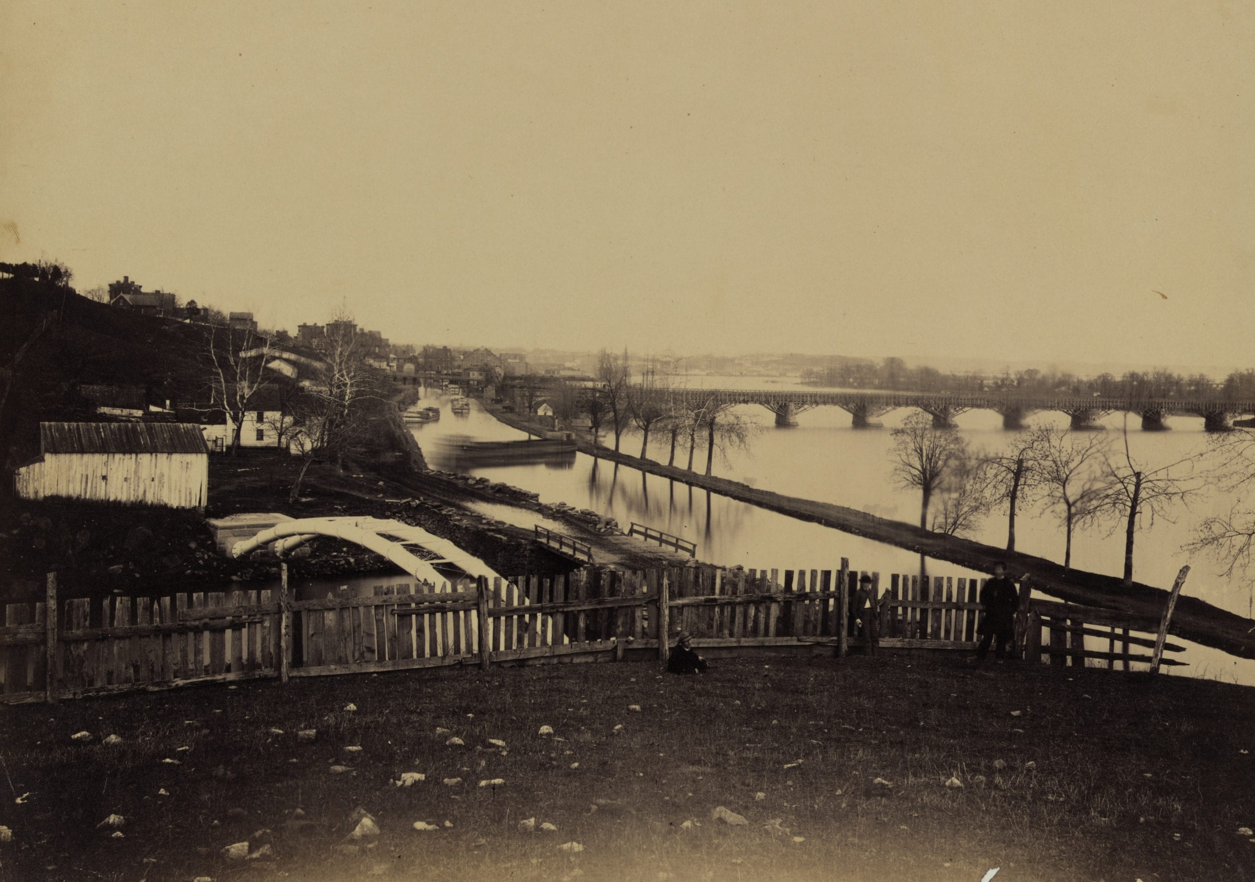 Aqueduct Bridge, Georgetown, D.C., looking toward Washington