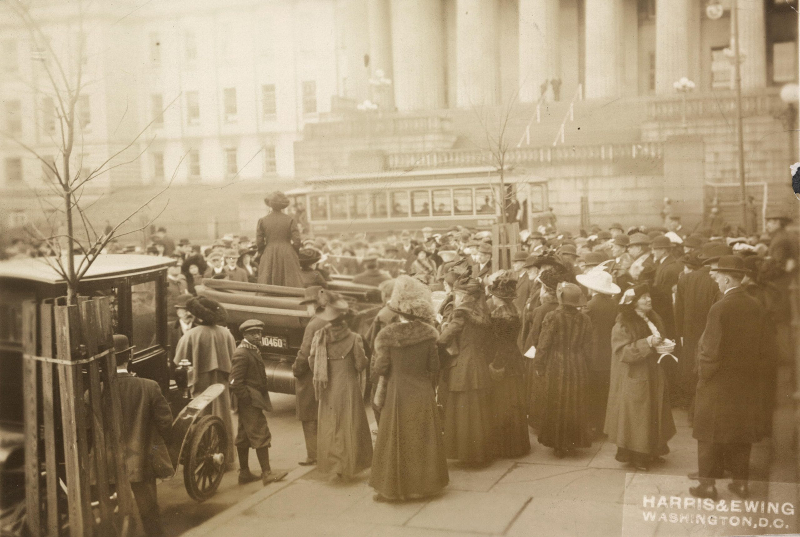Open air meeting at Washington, D.C. March 1913, calling upon Congress to pass the national woman suffrage amendment. Mrs. Mary Beard, wife of Professor Charles Beard of Columbia University, and a member of the Executive Committee of the Congressional Union for Woman Suffrage, is speaking.