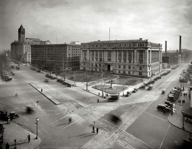 """Municipal Building, Southern Railway, and Post Office Department, from the Willard Hotel roof."" An ethereal, almost spectral view of Pennsylvania Avenue at 14th Street N.W. in Washington circa 1921, with the Old Post Office tower at left. National Photo Company Collection glass negative."