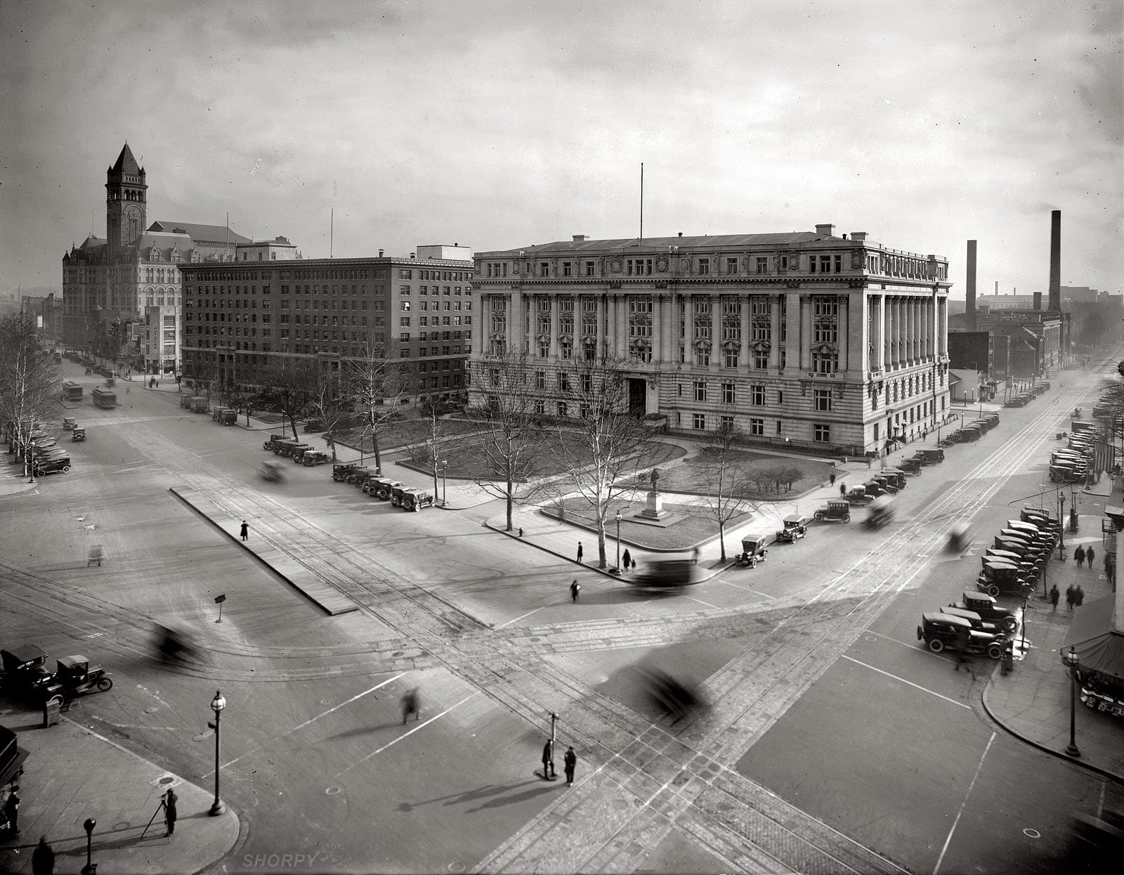"""""""Municipal Building, Southern Railway, and Post Office Department, from the Willard Hotel roof."""" An ethereal, almost spectral view of Pennsylvania Avenue at 14th Street N.W. in Washington circa 1921, with the Old Post Office tower at left. National Photo Company Collection glass negative."""