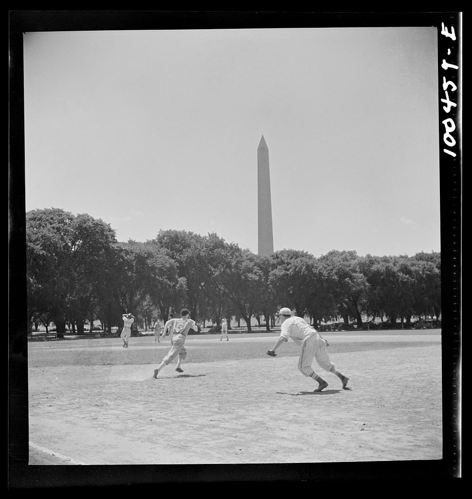Amateur baseball in front of the Washington Monument