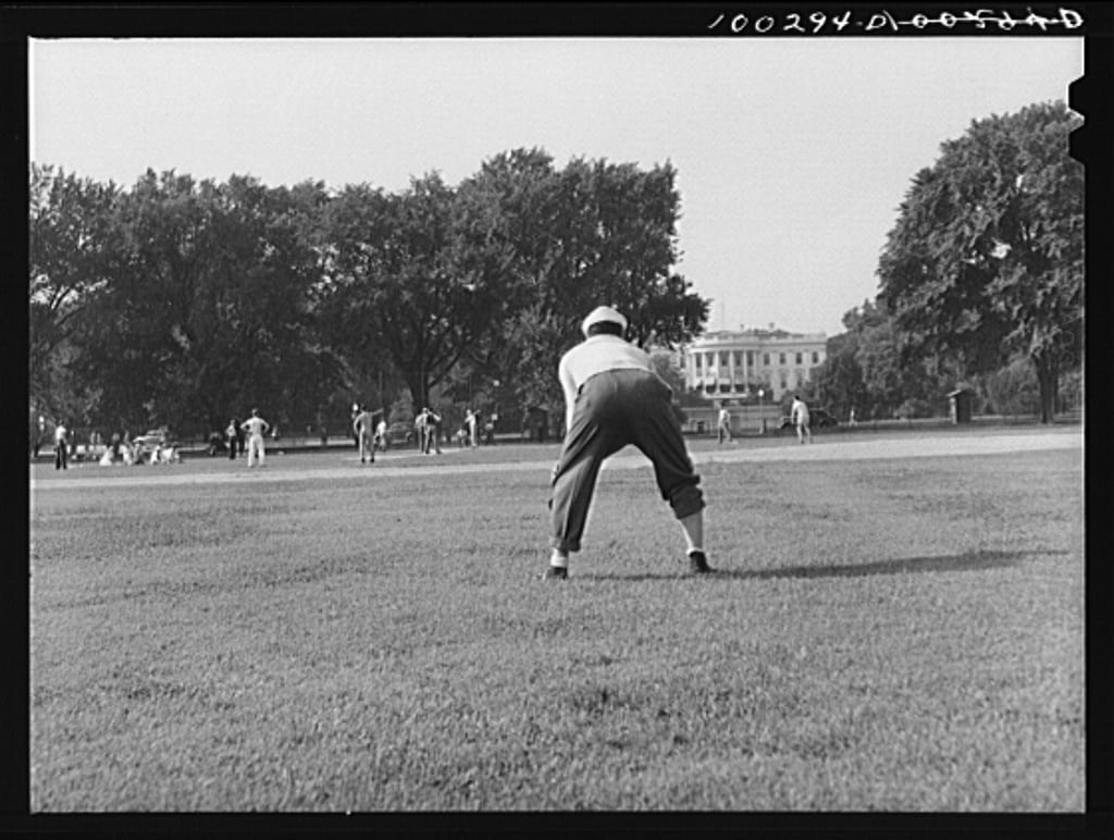 Amateur baseball in front of the White House