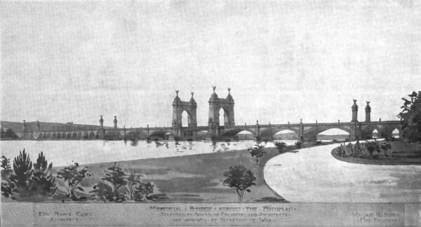A 1901 design for the memorial bridge by Edward P. Casey and William H. Burr, accepted by the Secretary of War but never constructed.