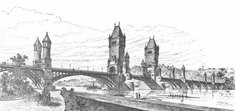 An early 1887 design for the memorial bridge across the Potomac River, by Paul J. Pelz.