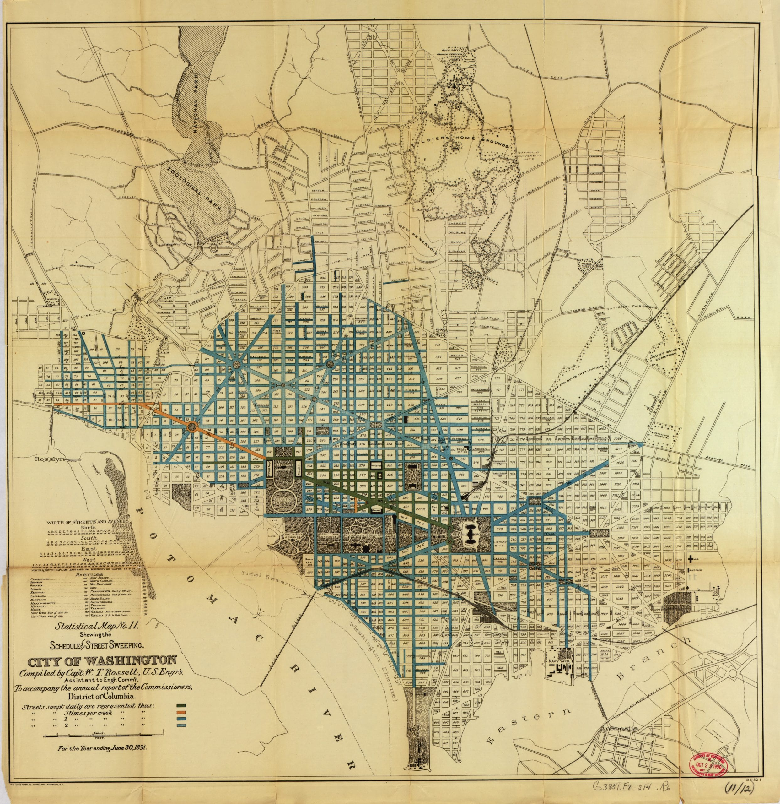 1891 street sweeping map of DC