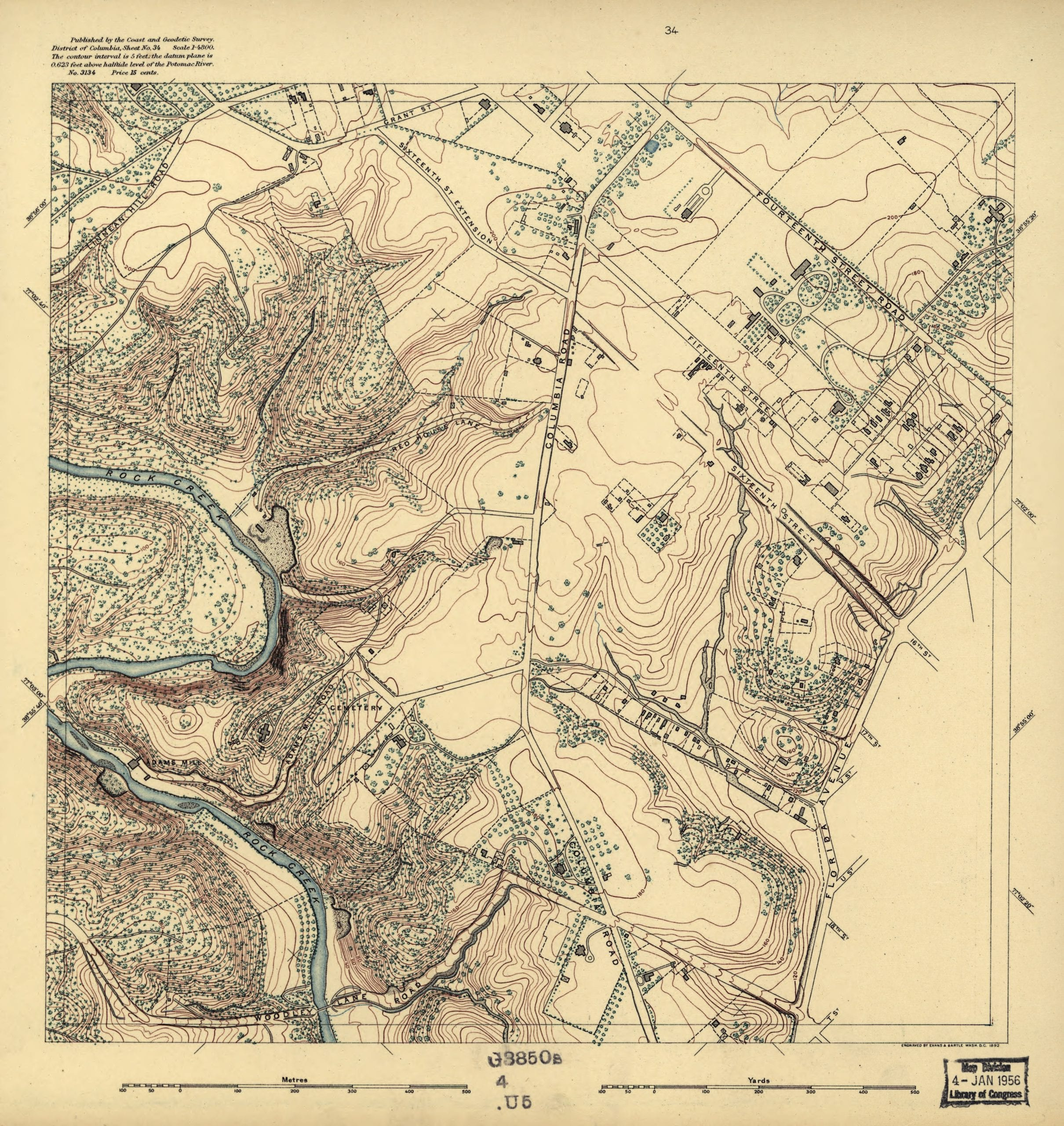 Topographic map showing lot lines, buildings, and woods.  Covers District of Columbia outside former Washington city limits (Florida Avenue).