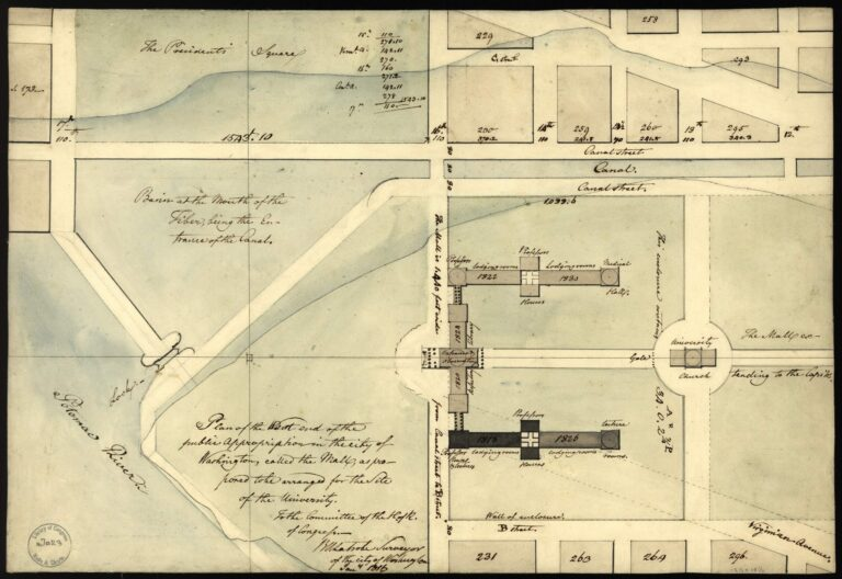 Plan of the west end of the public appropriation in the city of Washington, called the Mall : as proposed to be arranged for the site of the university / to the Committee of the H. of R. of Congress, BHLatrobe, Surveyor of the City of Washington, Jan'y 1816.