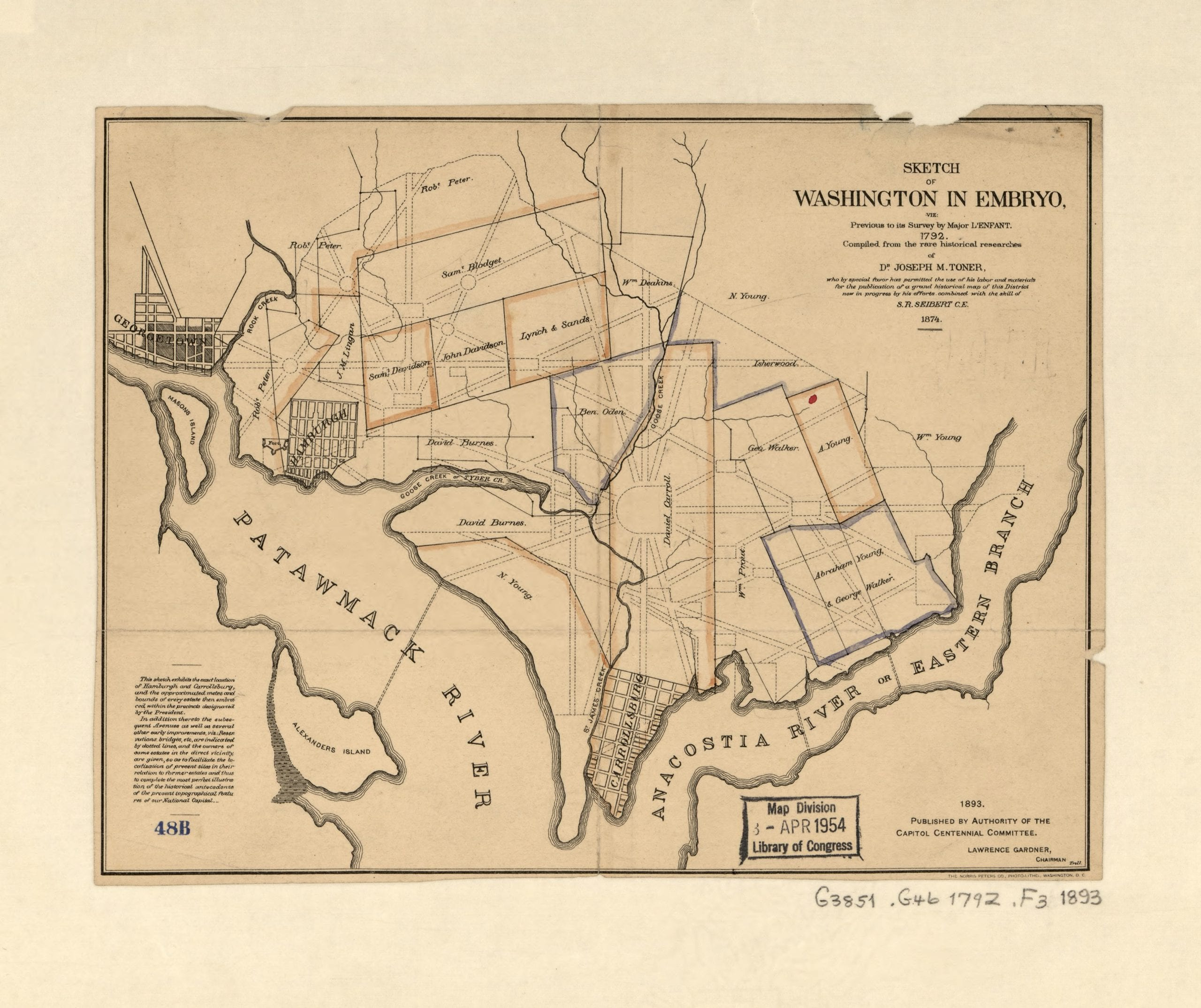 map of original land owners for city of Washington