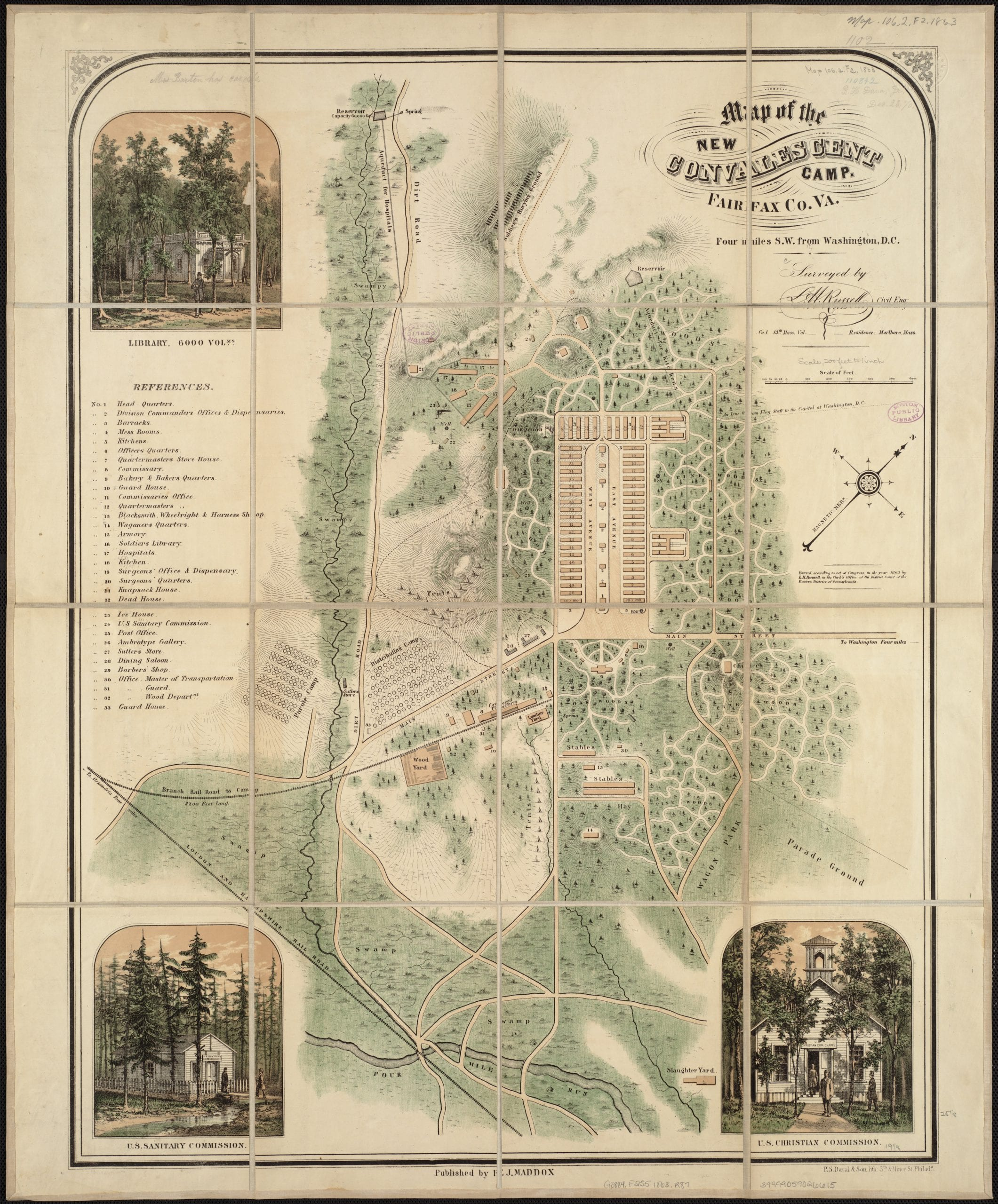 Map of the new convalescent camp, Fairfax Co., Va. four miles S.W. from Washington, D.C.