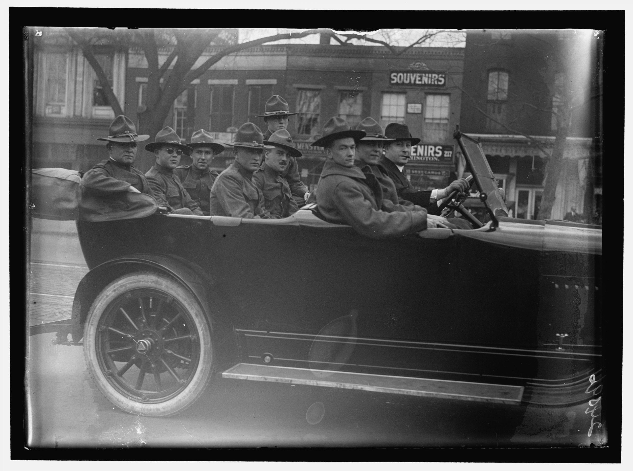 World War I soldiers in car