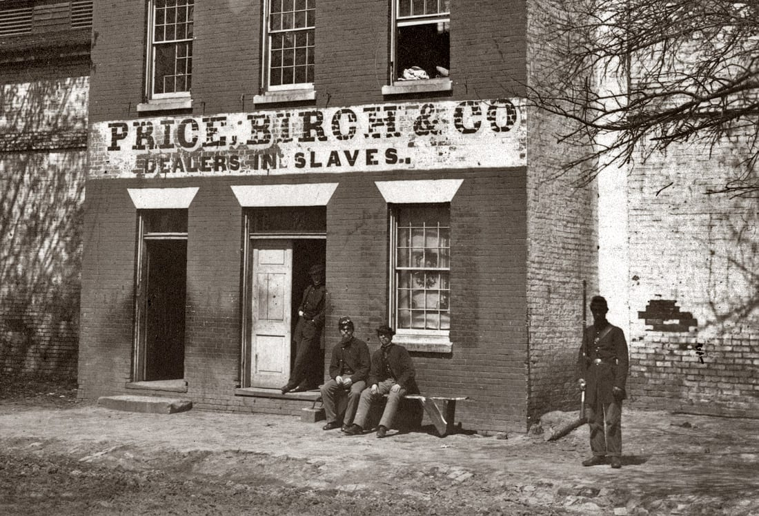 Union Army guard at Price, Birch & Co. slave pen at Alexandria, Virginia, circa 1865. Detail of albumen print. Photograph by Andrew J. Russell.