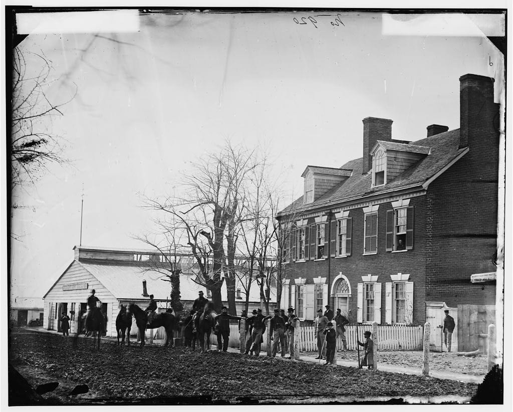 "Quarters of General Alfred Pleasonton, and ""Government Horse Shoeing Shop"" at Left, 21st St. near F NW - Washington, D.C., April 1865"