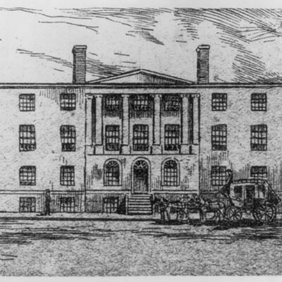 Print shows view from street of Blodget's Hotel with stagecoach parked in front and a person walking on the sidewalk on the left, later (from 1802 to 1836) the U.S. Patent Office.