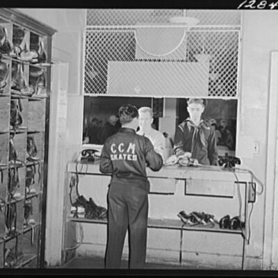 Chevy Chase Ice Palace, Washington. D.C. Servicemen returning skates which were rented to them for the evening by the Chevy Chase Ice Palace