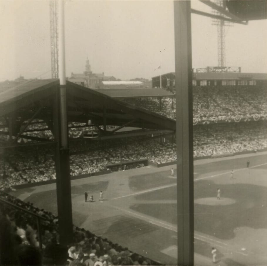 View from stands w/ Howard University in background (1950s)