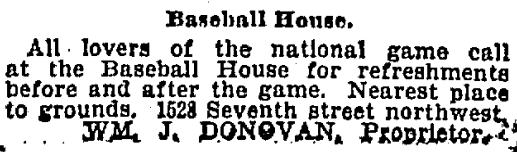 1894 advertisement for the Baseball House