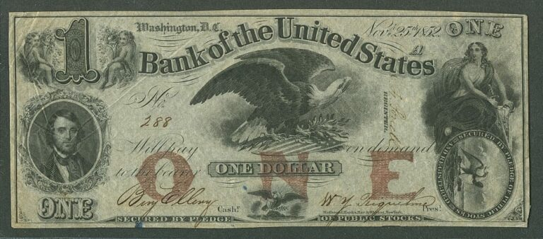 Bank of the United States - $1 bill (1852)