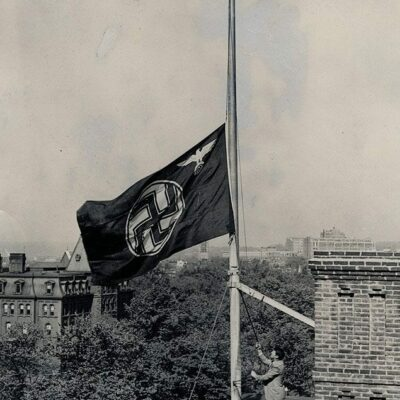 Nazi flag at half mast, in honor of the HIndenburg