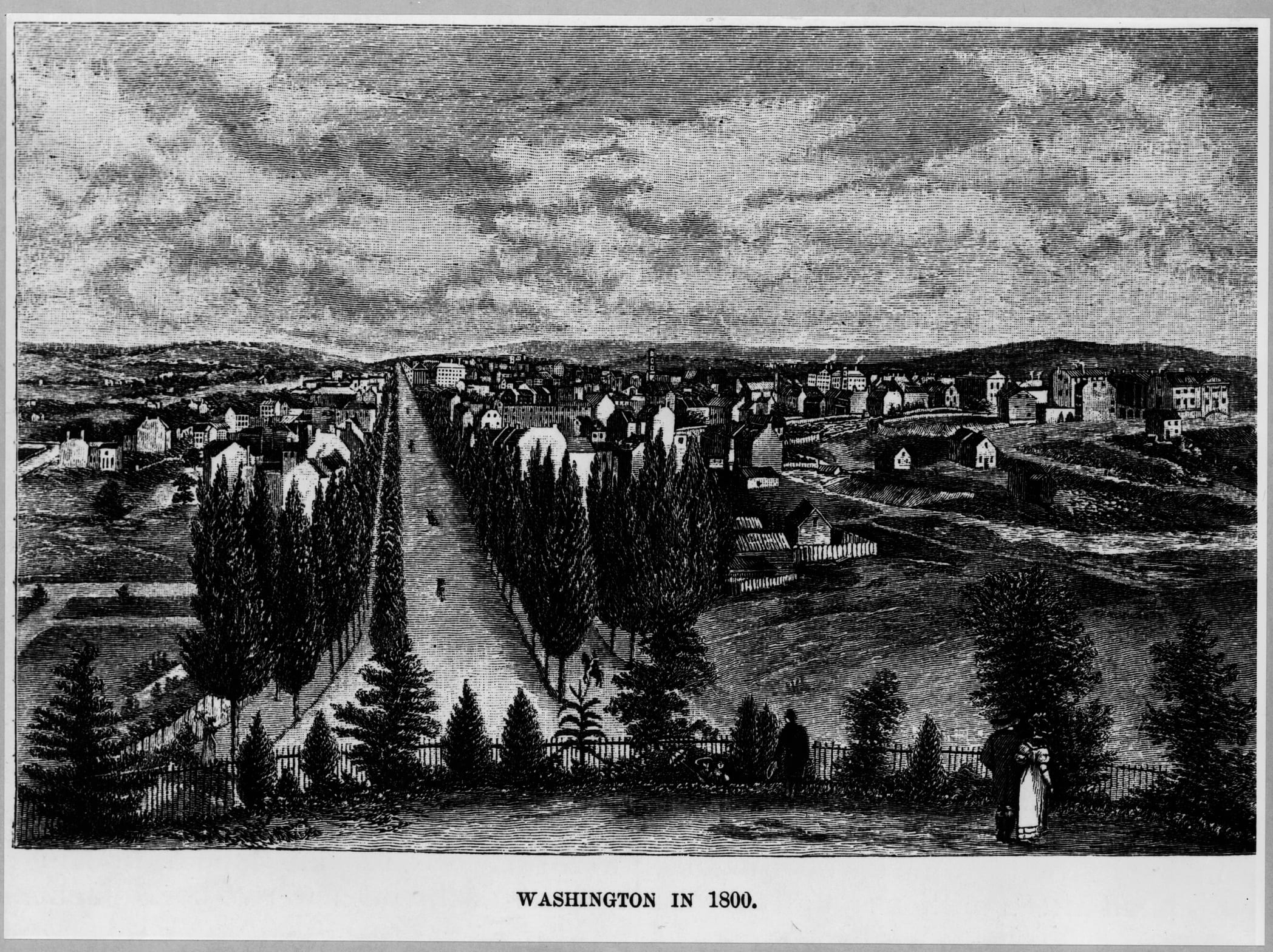 Image shows a black-and-white engraving published in 1834 to portray Washington, D.C. and the west front of the U.S. Capitol grounds as they were in 1800. Includes the west end of the west grounds and Pennsylvania Avenue, with poplar trees planted in 1803.