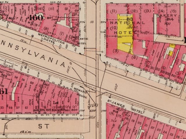1921 map of Pennsylvania Ave.
