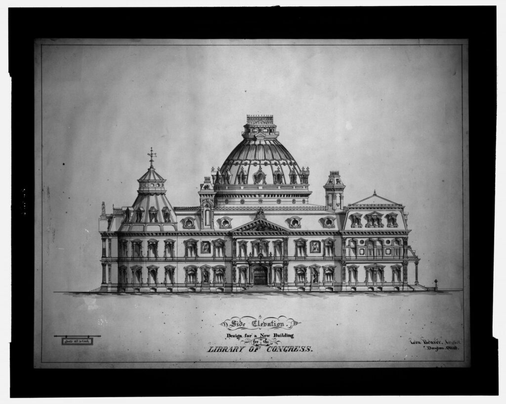 1873 proposed design for the Library of Congress by Leon Beaver