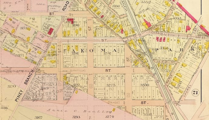 Great Map of Takoma Park in 1907