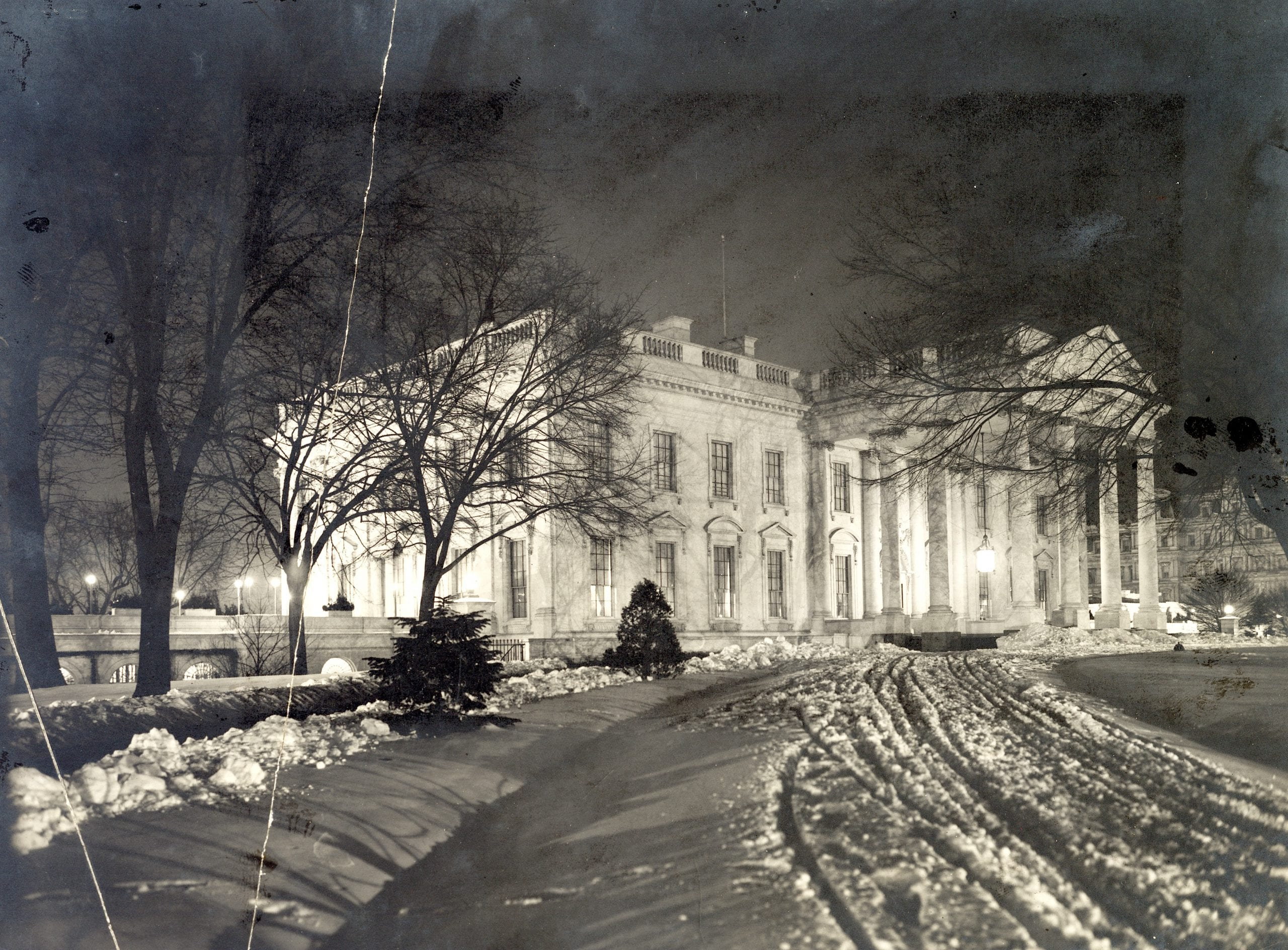 White House on a Snowy Night in 1907