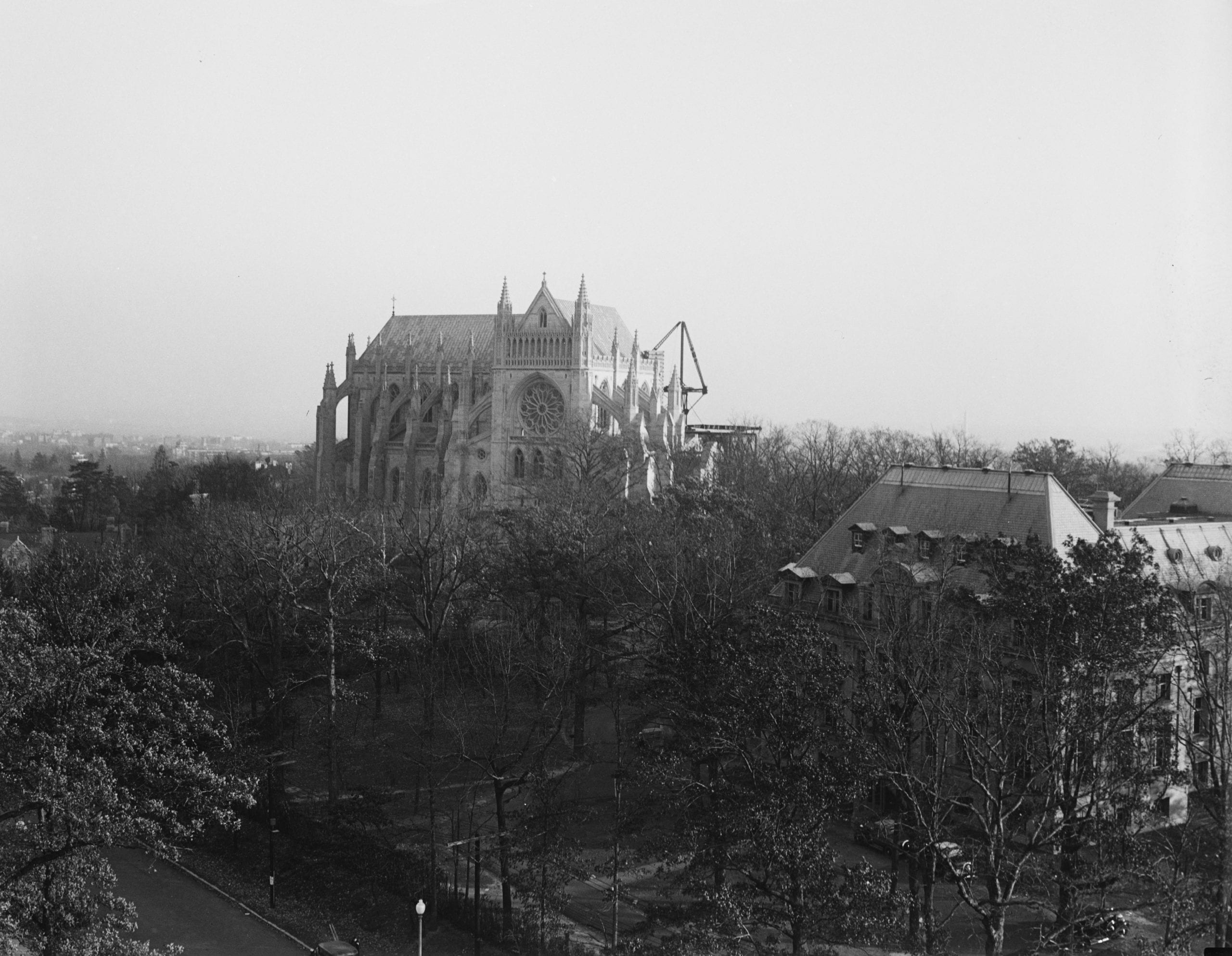 view of National Cathedral under construction