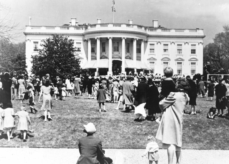 Children and parents on lawn of the White House for Easter Monday egg roll