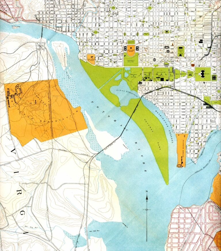 """Portion of """"Map of the District of Columbia"""" No. D-287, Commission on the Improvement of the Park System, 1901"""