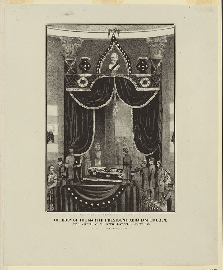 The body of the martyr President, Abraham Lincoln. Lying in state at the City Hall, N.Y. April, 24th & 25th 1865