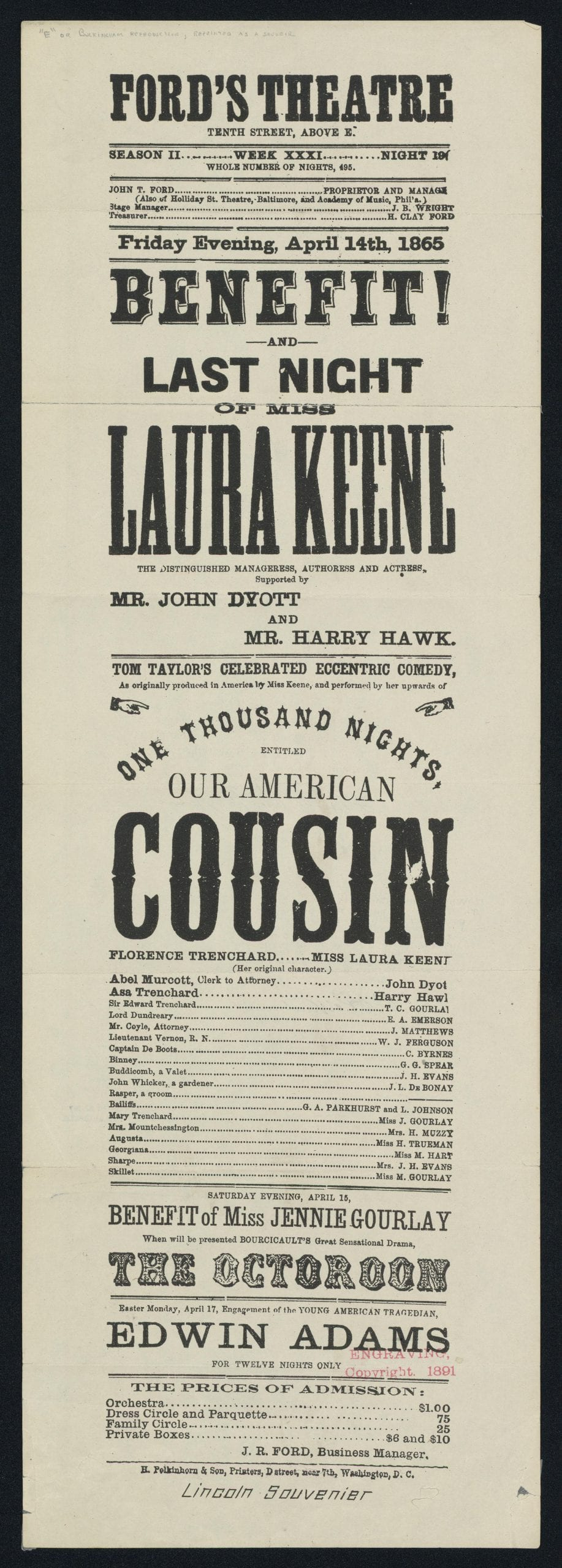 Our American Cousin Playbill