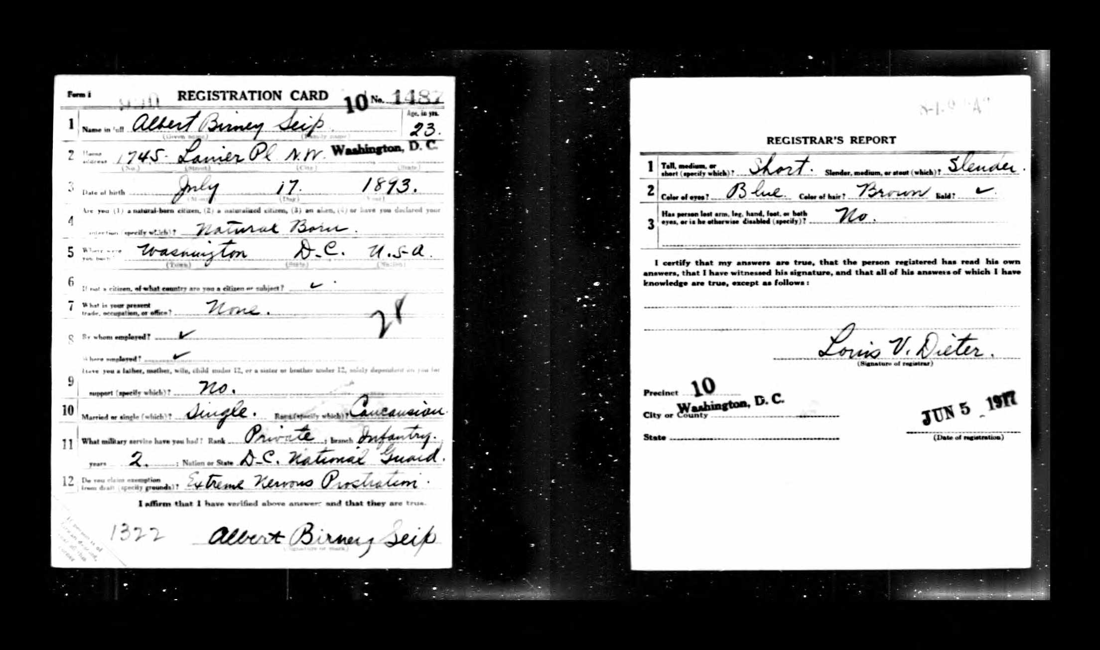 Albert B. Seip's World War I draft registration