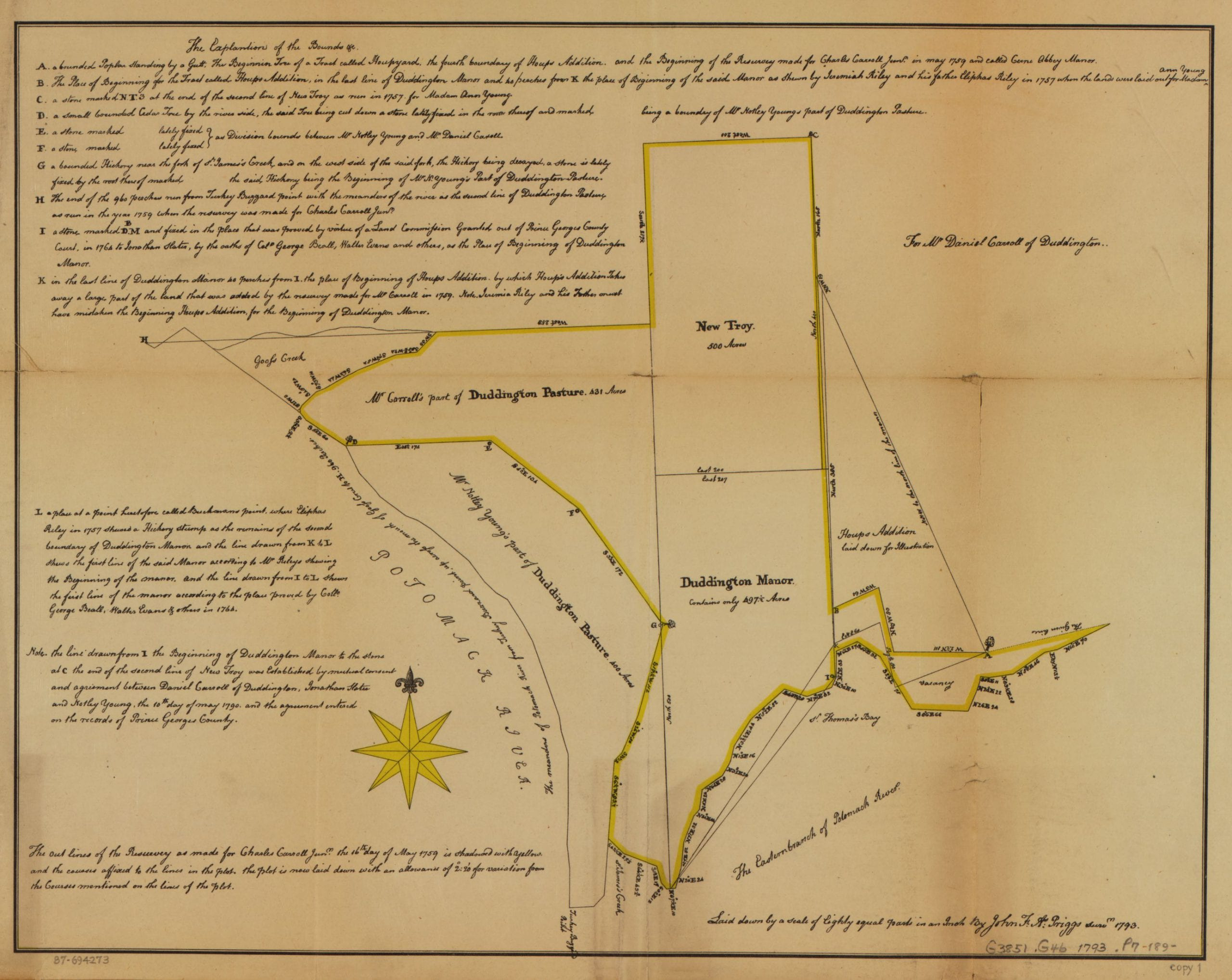 1793 Map of Carroll Family Land in Washington