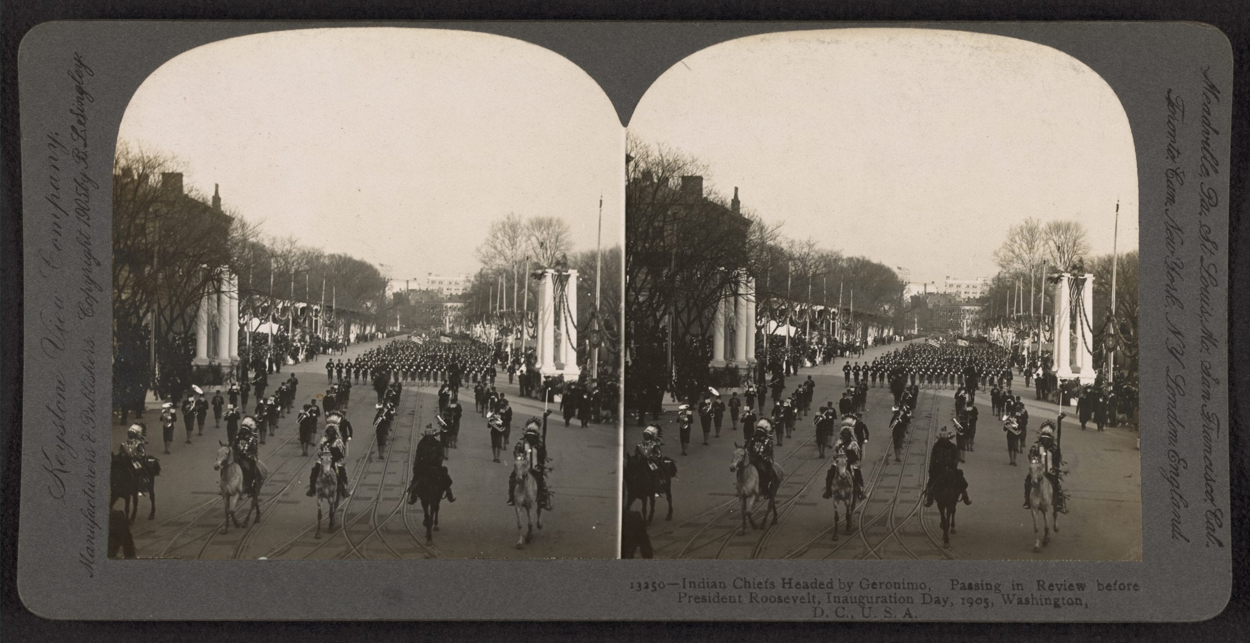 Indian chiefs headed by Geronimo, passing in review before President Roosevelt, Inauguration Day, 1905
