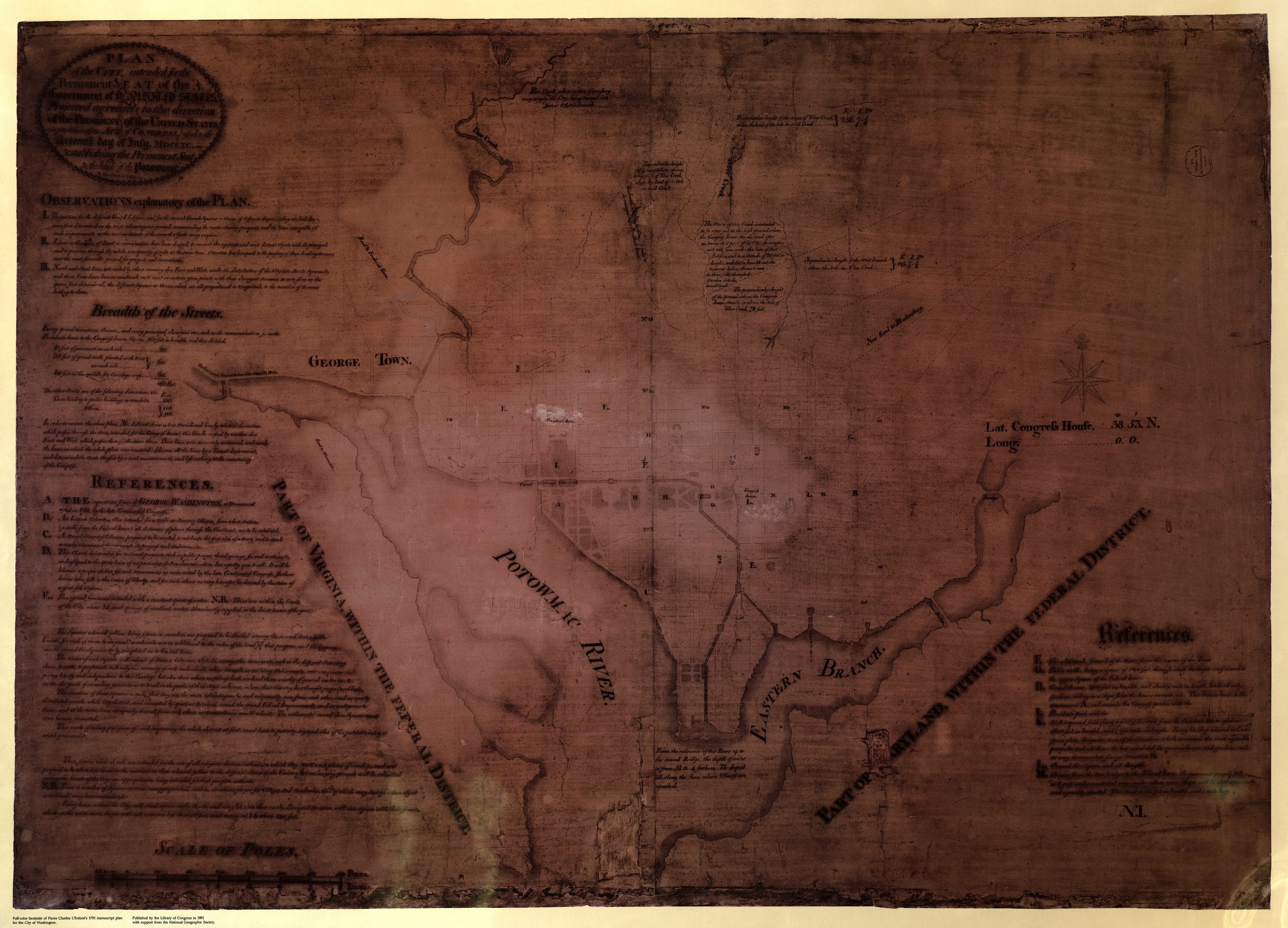 "Plan of the city intended for the permanent seat of the government of t[he] United States : projected agreeable to the direction of the President of the United States, in pursuance of an act of Congress, passed on the sixteenth day of July, MDCCXC, ""establishing the permanent seat on the bank of the Potowmac"""