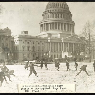 Congressional pages have snowball fight in 1923