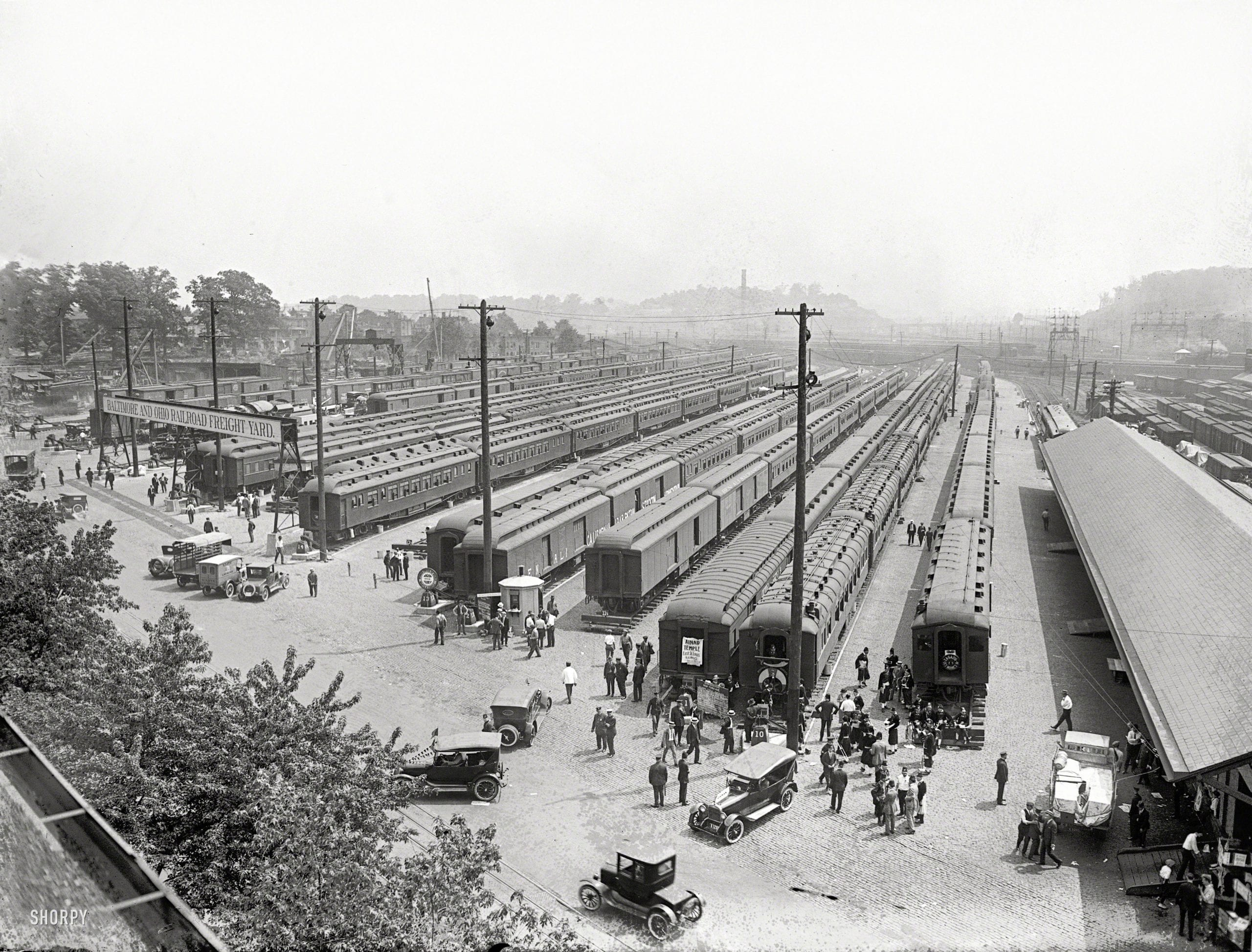 """""""Eckington Yards, June 4, 1923."""" A rare and unusually detailed look at the Baltimore & Ohio rail yard in Washington, D.C., during that year's big gathering of Masonic lodges. National Photo Company glass negative."""