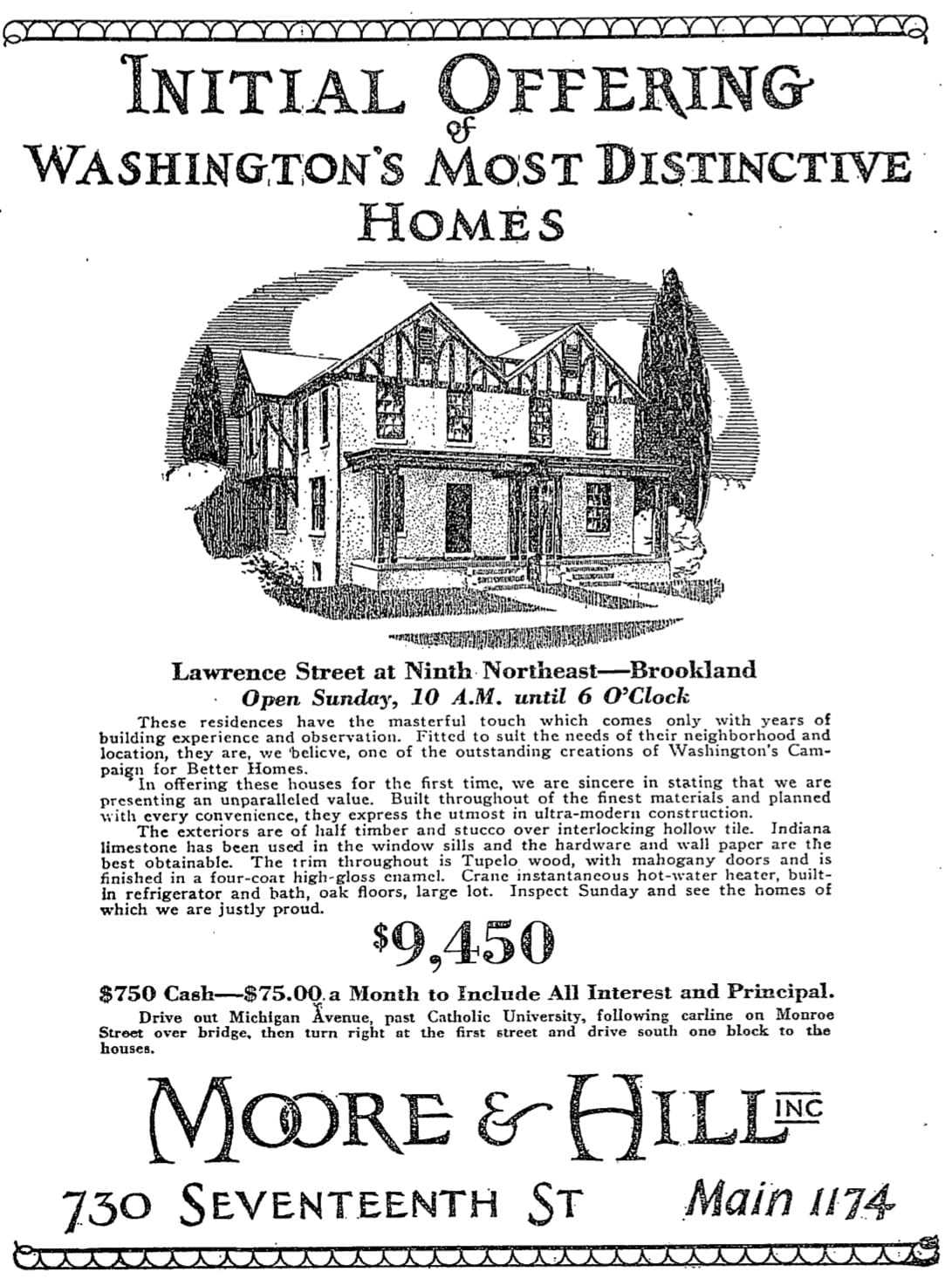1926 Brookland real estate advertisement