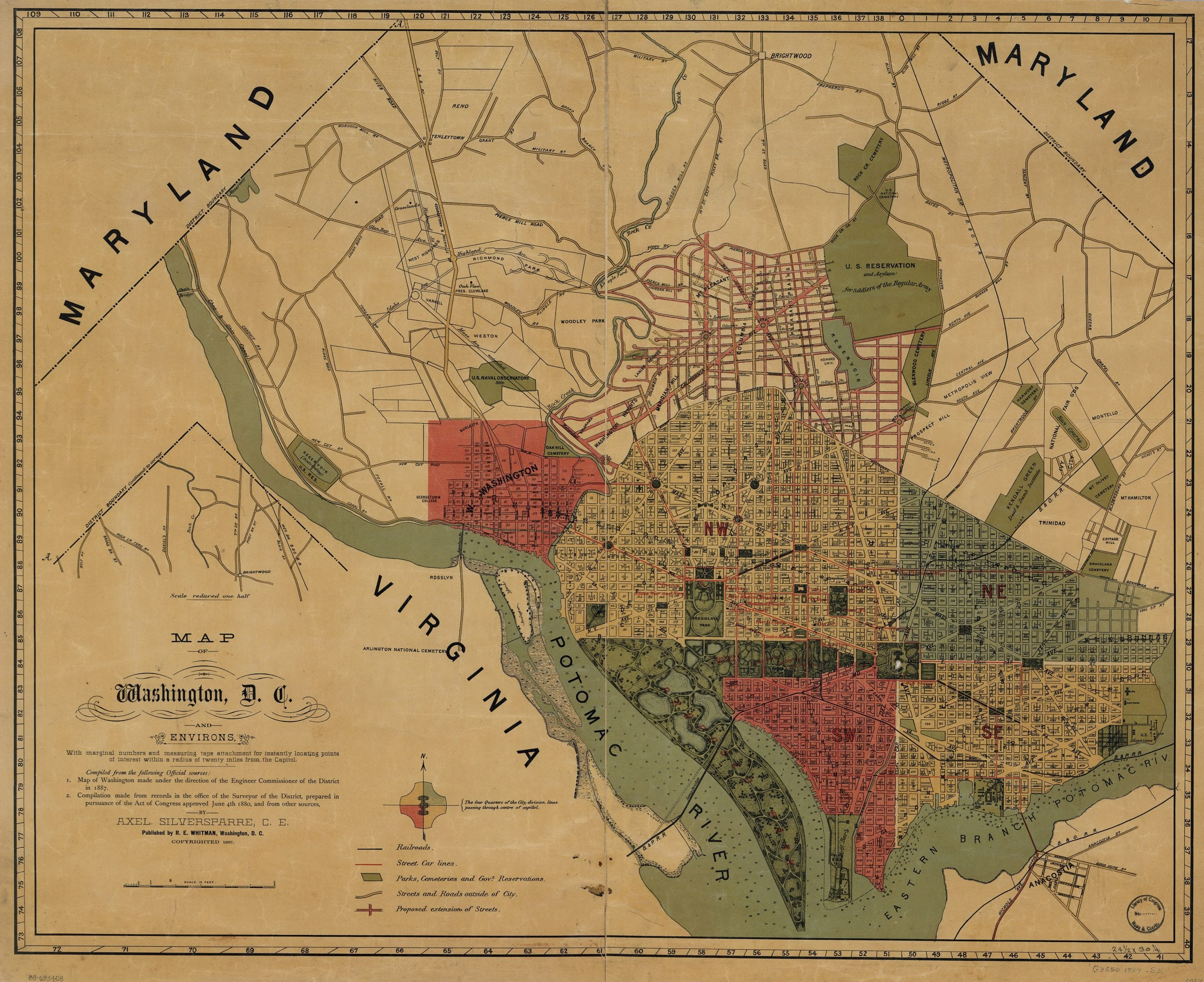 Map of Washington, D.C., and environs : with marginal numbers and measuring tape attachment for instantly locating points of interest within a radius of twenty miles from the Capitol /